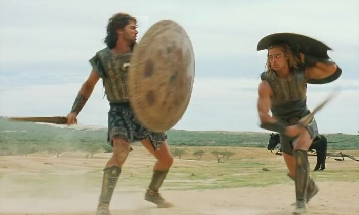 In Troy (2004), Brad Pitt And Eric Bana Did Not Use Stunt Doubles For Their Epic Duel. They Made A Gentleman's Agreement To Pay For Every Accidental Hit. $50 For Each Light Hit, $100 For Each Hard Blow. Pitt Ended Up Paying Bana $750. Bana Didn't Owe Pitt Anything