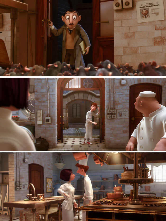 There Is A Scene With The Health Inspector, Barging Into The Restaurant With A Picture Of His Face On The Wall. This Poster Is Present Throughout The Entire Movie Whenever This Section Of The Restaurant Is Shown