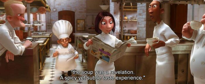 In The Newspaper The Cooks Are Reading, There Is An Advertisement For The Same 3 Step Stool That The Chef Uses To Watch The Dining Room In Ratatouille