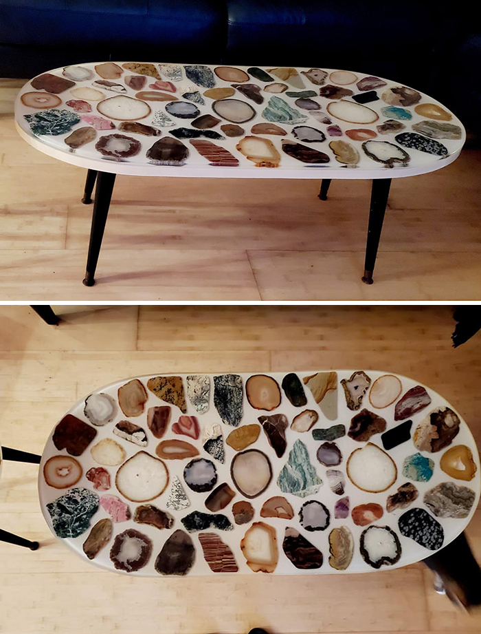 Scored This Evening Off Of Market Place. Mid Century Table With Geode Slices