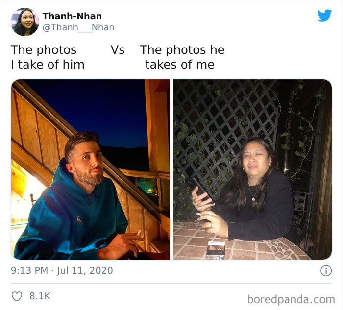 The Photos I Take Of Him vs. The Photos He Takes Of Me