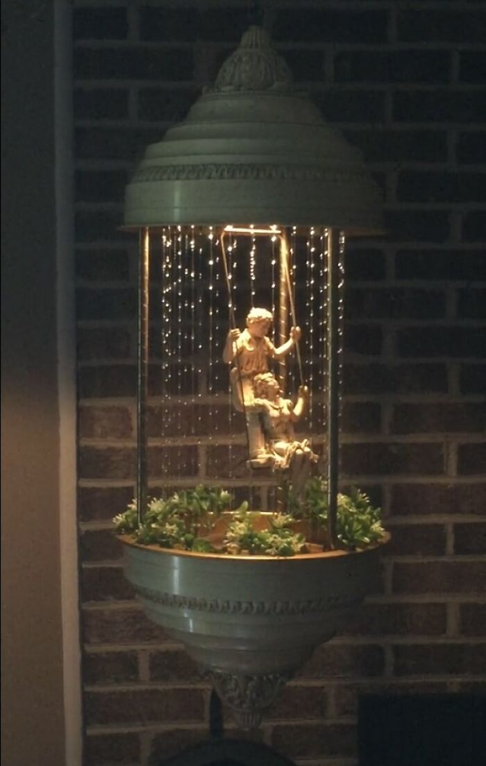 Just Found The Missing Piece To My 1978 Creators Hanging Rain Lamp, At The Same Thrift Store, A Month And A Half After I Found The Lamp Itself. Here Is It, Complete With The Swinging Couple And Original Foliage