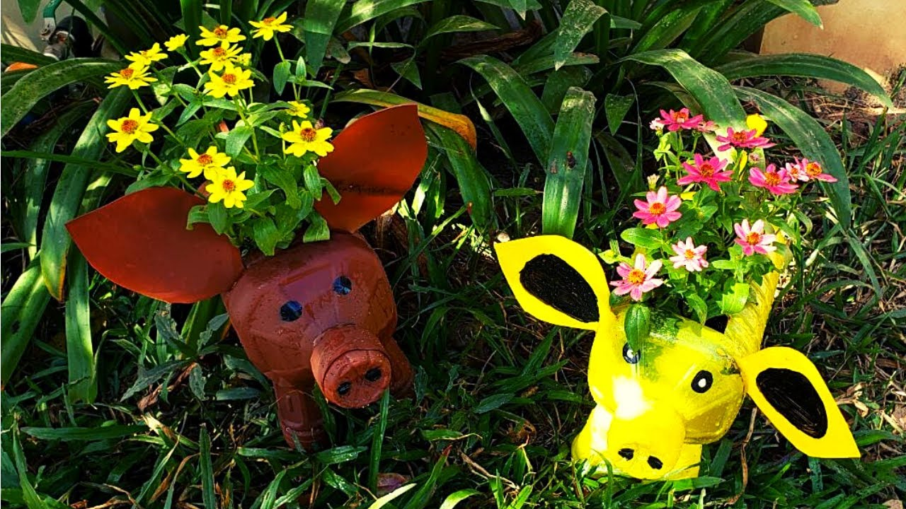 How To Recycle Plastic Bottles Into Pig Planter Pots For Small Garden | Craft Yours