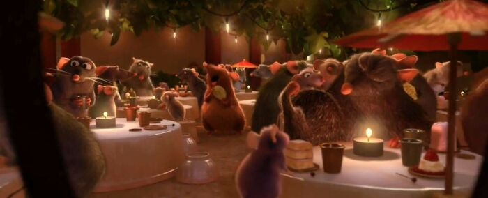 In This Scene At The End Of Ratatouille, The Cups Are Thimbles, The Plates Are Buttons, And The Utensils Are Pins