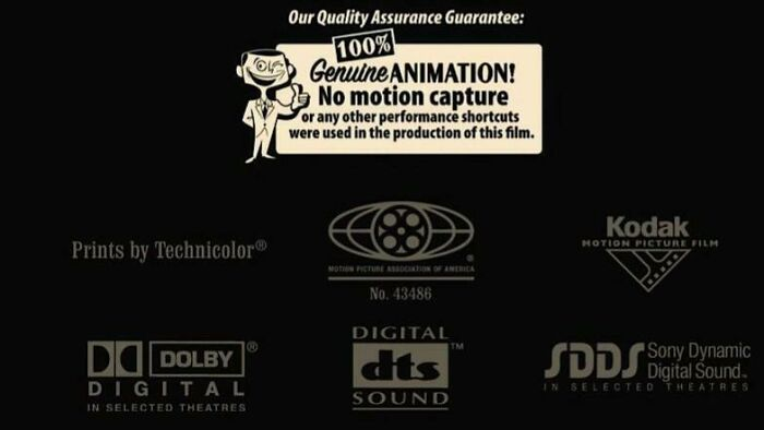 """After Cars (2006) Lost Out On The Oscar For Best Animated Movie To Happy Feet (2006), Which Utilized Motion Capture, Pixar Placed A """"Quality Assurance Guarantee"""" At The End Of Their Next Movie Ratatouille (2007) To Remind The Academy They Animate Every Single Frame Of Their Movies Manually"""