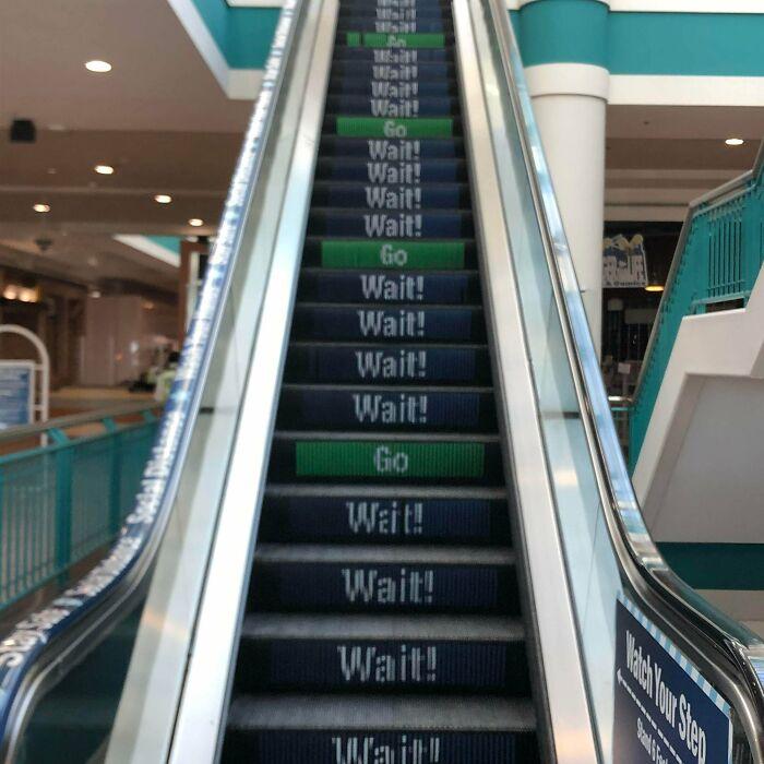 Social Distancing Escalator At Local Mall.