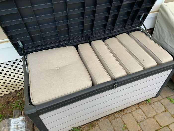 Bought This Storage Box For Our Seat Cushions Thinking It Was More Than Big Enough, This Is Every Cushion