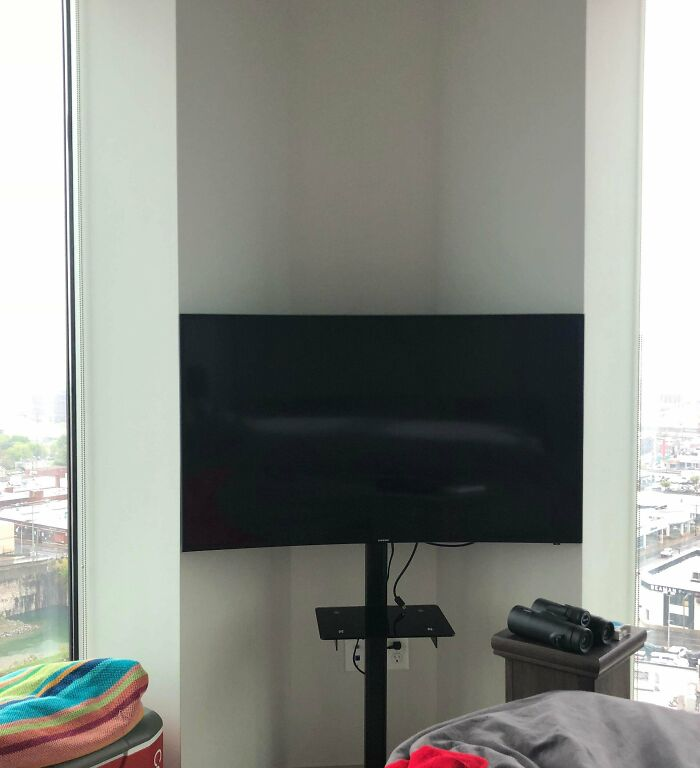 My Curved TV In The Corner Of My Bedroom