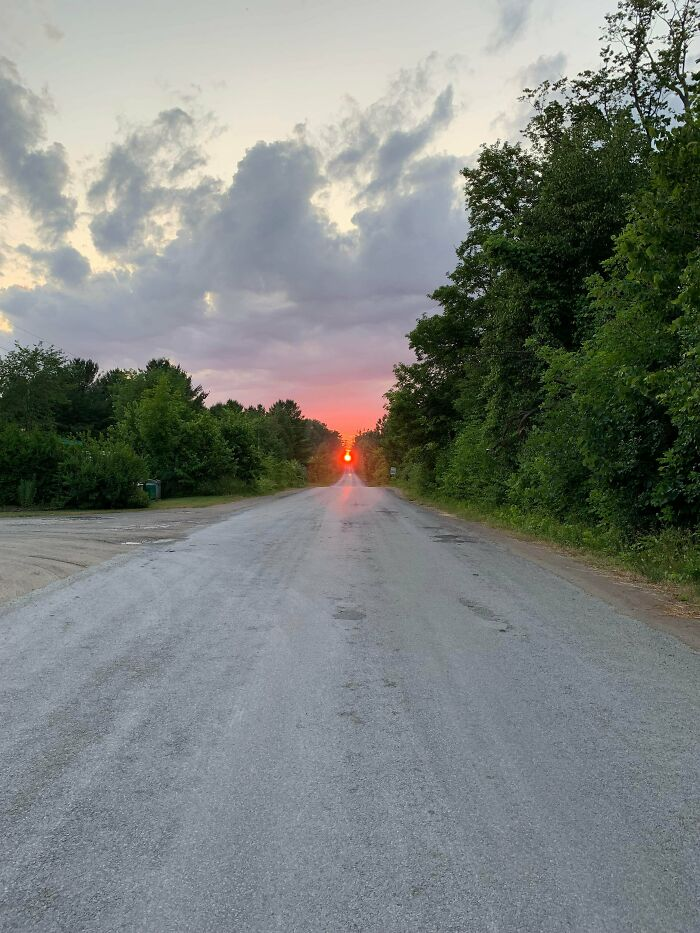 The Sun Fit Perfectly With The Road At A Camping Spot I Go To Every Summer