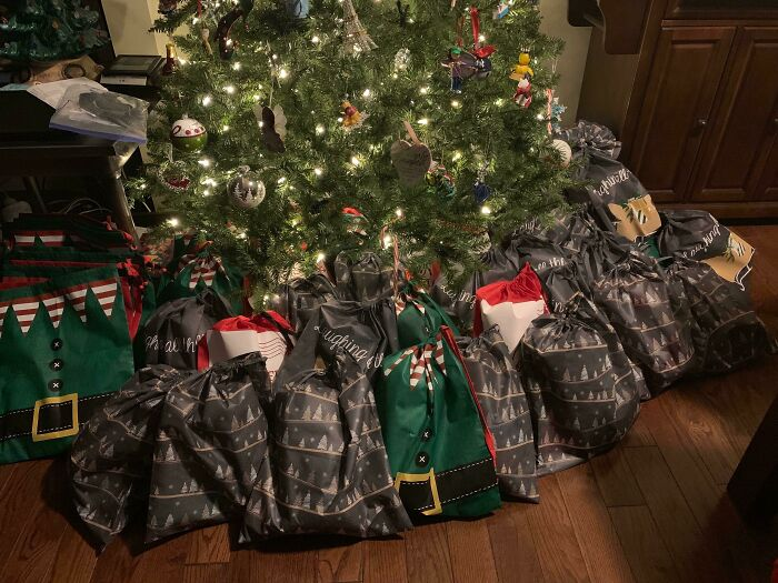 My Wife Found Out That 60% Seniors In Nursing Homes Have No Visitors And Get Nothing For Christmas. So She Held A Small Fundraiser And Put Together 61 Gift Bags For A Local Nursing Home. Each Bag Contains Chapstick, Lotion, Tissues, A Word Search Book A Pen, And A Blanket