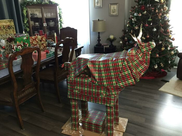 The Christmas Moose, Contains 12 Gifts For My Wife. Head Is A Bit Small, But It Was All For Fun Anyhow