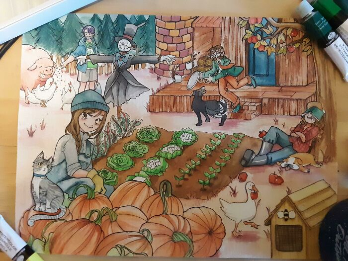 For My Friends Christmas Present, I Drew Her, Our Pets And I On Our Community Farm!
