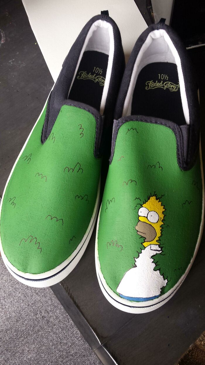 Simpsons Shoes I Painted For A Christmas Gift