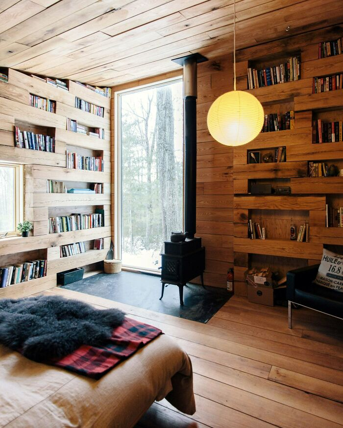 Secluded Library In A Tiny Cabin In The Forest, Upstate New York