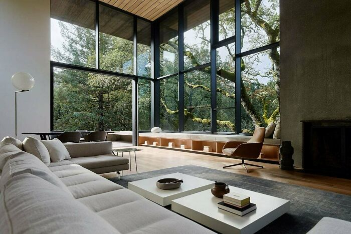 Tall And Spacious Living Room Opening Up To A Patio And Garden Surrounded With Mature Oak Trees, Orinda, Contra Costa County, California