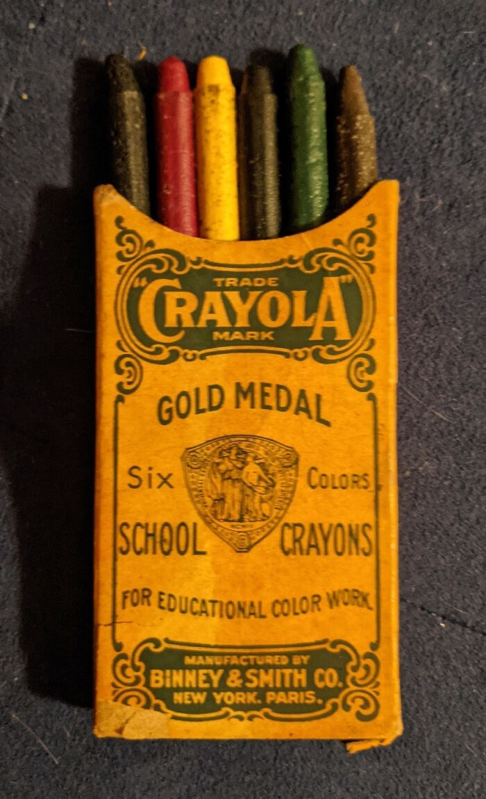Found These 110 Year Old Crayolas In The Back Of A Family Secretary Desk. The Pack Still Has The Crayons