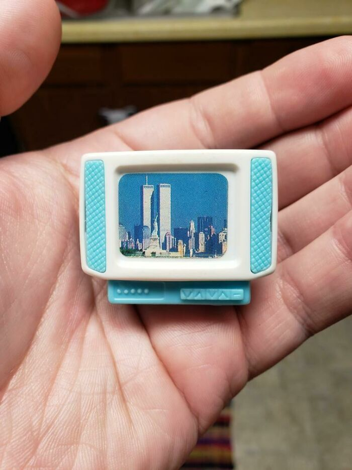 My Brother Found My Old Dollhouse TV Displaying The Twin Towers