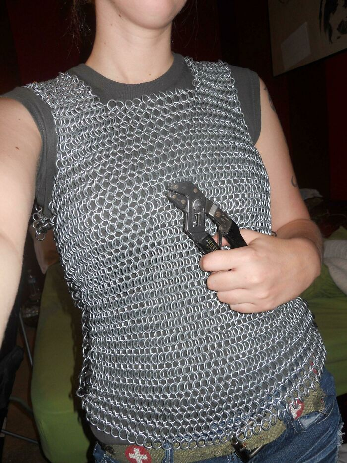 I Weave Chainmaille As A Hobby. I Usually Make Dice Bags, But This Is My First Shirt!