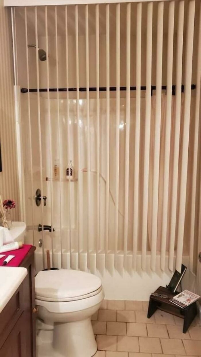 This Shower Has Blinds Instead Of Curtains
