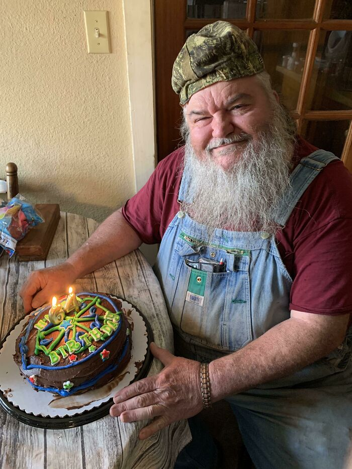 My Grandpa Just Turned 64 Today. He Grew Up Poor And Had Never Had A Birthday Party. Today He Had His First One And You Can See The Happiness In His Smile
