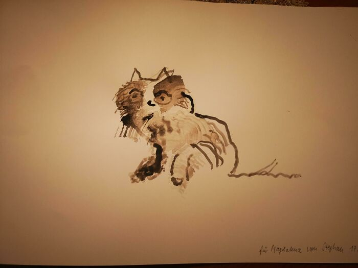 My 93 Year Old Dementia Patient Painted My Cat, I Have No Cat But I'm Starting To Fall In Love With This One