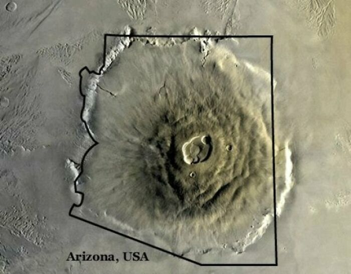 Olympus Mons On Mars, The Largest Volcano In Our Solar System, Compared To Arizona