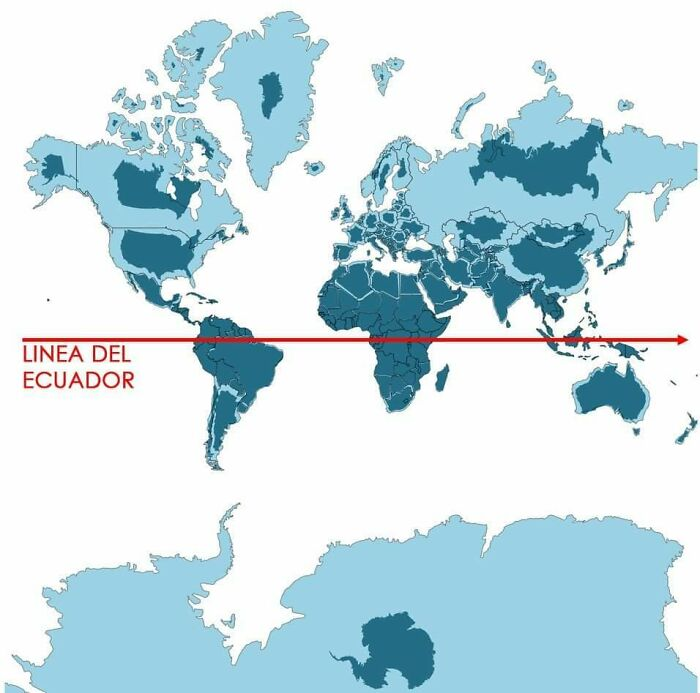 Light Blue Is A Map As We Know It And Dark Blue Is The Actual Size Of Each Country