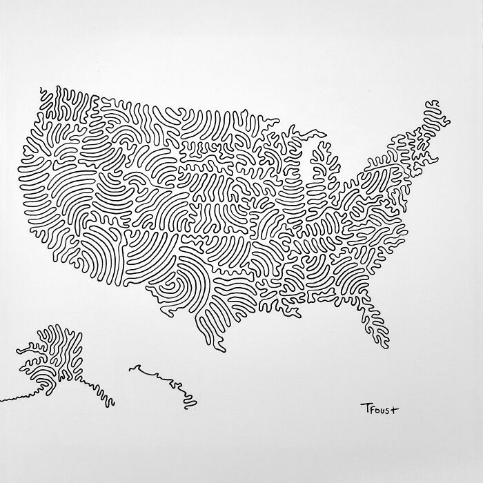 USA In Drawn In 3 Lines. Boundaries Marked With Gaps (The Best I Could)