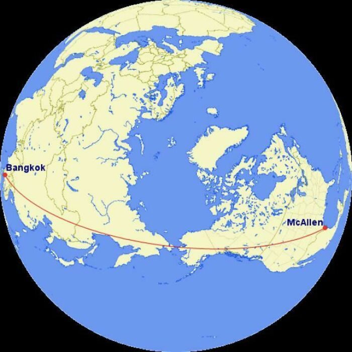 If You Flew In A Straight Line From Mcallen, Texas To Bangkok, Thailand, You Would Only Spend About 50 Miles Over Water