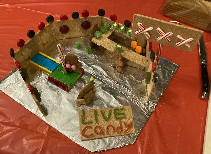 Every Year My In-Laws Have A Gingerbread House Competition And Every Year I'm Still A Disappointment
