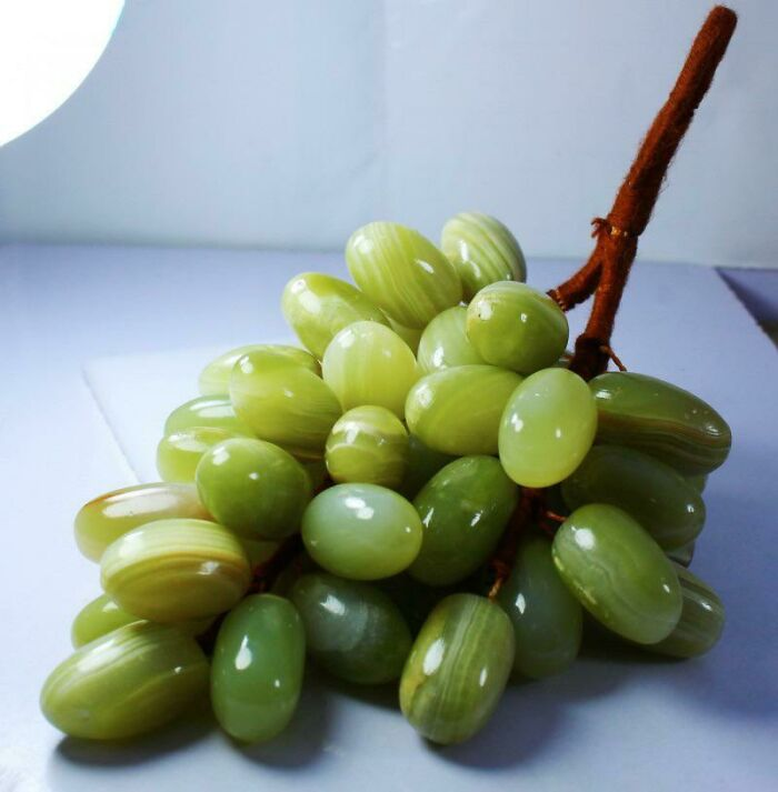 Carved Green Onyx Gemstone Grapes. I'm Salivating