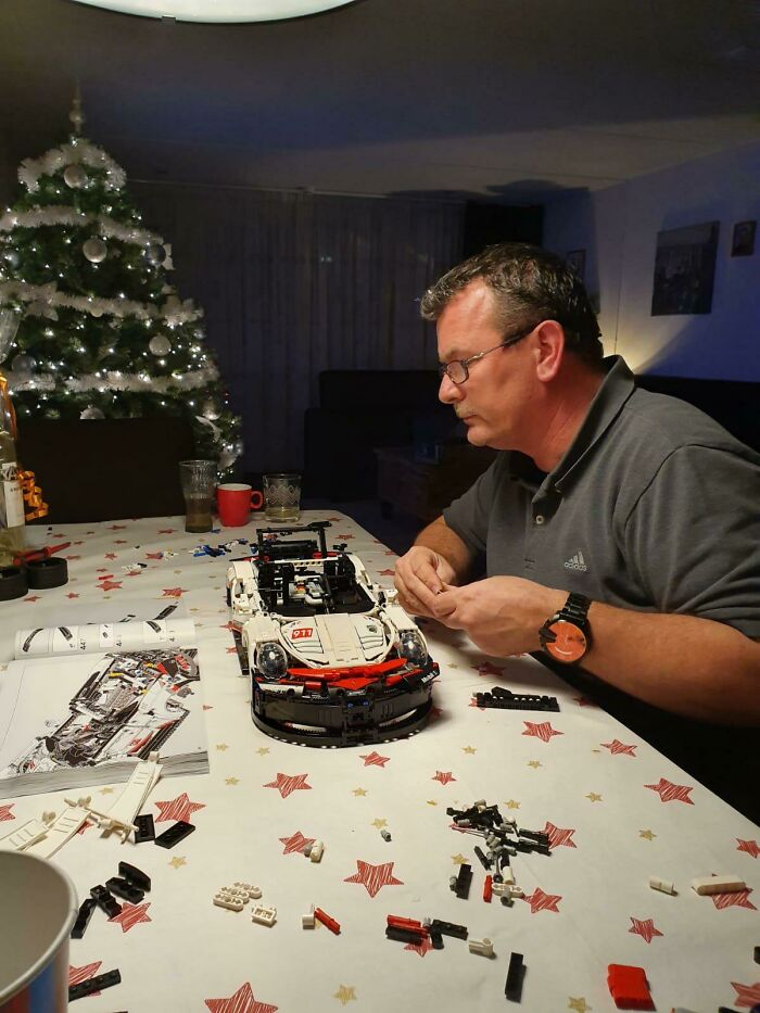 Bought My Dad A LEGO Porsche This Christmas, He's Been Busy Building Ever Since