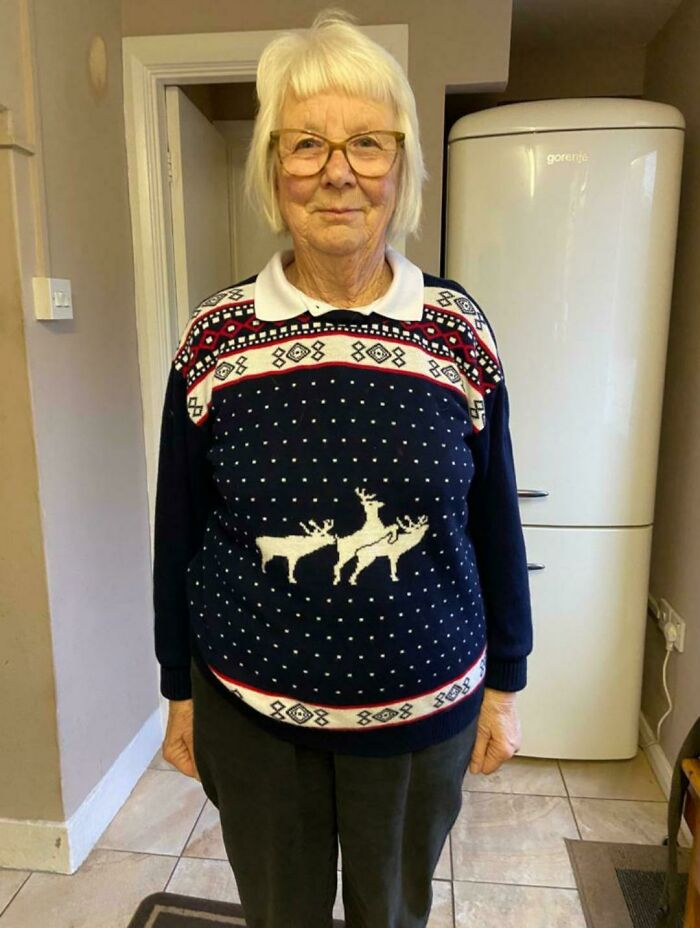 My 81-Year-Old Grandma Didn't Look Close Enough At The Jumper She Bought For Xmas This Year