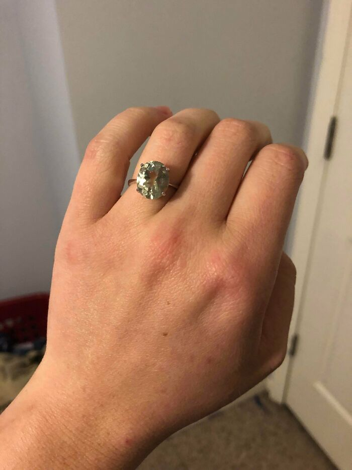 I Was Told This Was A Green Amethyst, And Haggled To $42. Took It To A Jeweler To Have It Appraised—it's A Rare Green Diamond, 4.4 Ctw, Over 100 Years Old, Conservatively Worth More Than $8k