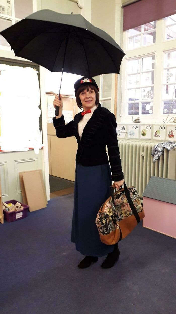 Here's My Mums Entirely Thrifted (And A Little Modified) Mary Poppins For World Book Day - She's A Primary School Teacher And Likes To Get Involved