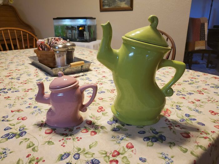 I've Had My Sassy Green Teapot For Years, Just Found His Baby At Goodwill Yesterday