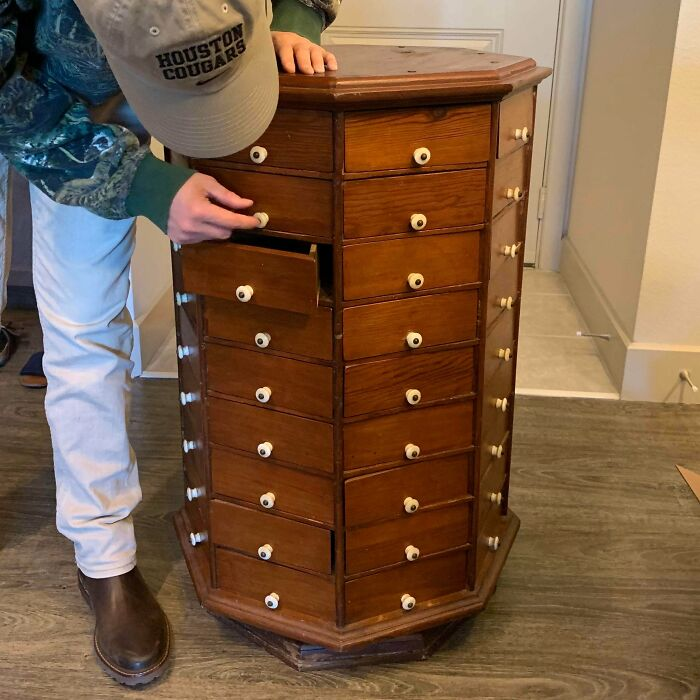 Got An Old Antique Hardware Store Cabinet From Offerup For $100 - It Has 72 Drawers & Spins