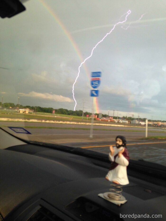 Went To Take A Picture Of The Rainbow And Lightning Struck At The Same Time!