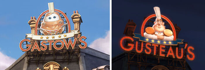"""In Cars 2 (2011), In Paris You Can See A Restaurant Called """"Gastow's"""". This Is A Direct Reference To """"Gusteau's"""" Restaurant From Ratatouille (2007)"""