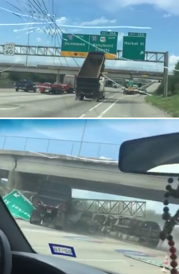 """I Don't Understand People. """"Oh This Truck Is About To Hit That Sign, Let Me Just Continue Follow Him"""""""