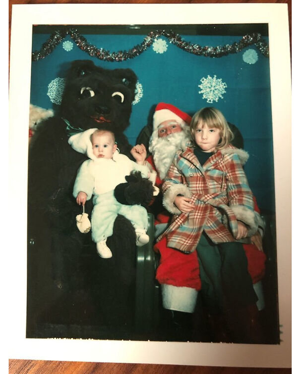 My Brother And Me, Circa 1977, With The Credit Union Santa And His Creepy Bear Sidekick
