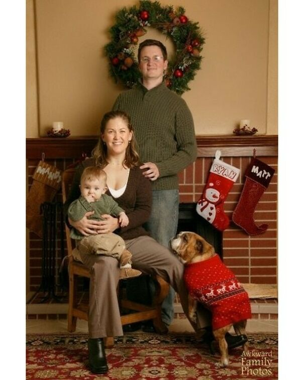This Is The 2006 Christmas Card Photo That We Sent Out, With Our 6-Year-Old English Bulldog, Joan
