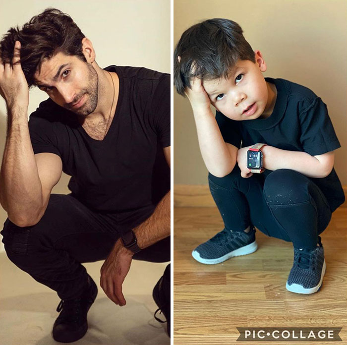 Mom Makes Fun Of Her Model Brother By Having Her Toddler Recreate His Poses, And Result Is Hilariously Adorable (76 New Pics)