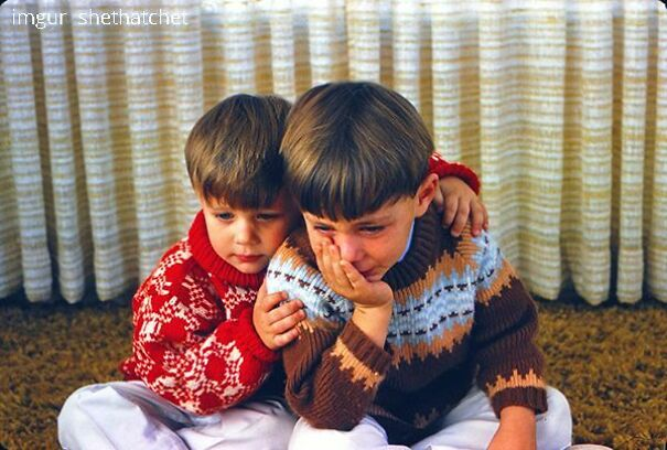 My Uncle, Comforting My Father After Breaking A Toy On Christmas Morning, 1969. That's Brotherly Love