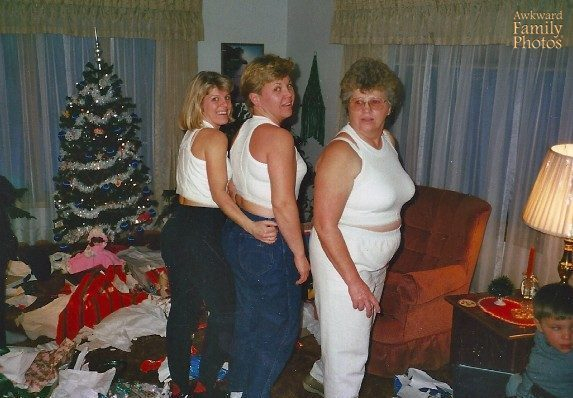When I Was A Kid, My Mom, Who Is A Seamstress, Would Make Funky Gifts Every Year For Christmas. Sometime In The Late 80s, She Got Her Hands On Some Giant Men's Underwear And Made Sports Bra's Out Of Them. Hence, My Two Aunts And Grandma Modeling Them On Christmas Eve