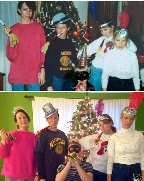 Being In A Family With Five Children, You Hardly Ever Get A Great Photo With All The Kids. 27 Years Later My Sister Decided We Should Reenact This Photo On The One Day A Year We All Get Together