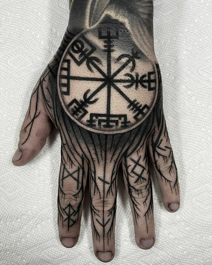 Vegvísir And Some Black Metal Freehand Jammers For My Warrior Babe