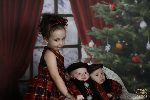 My Sister And I Thought It Might Be A Good Idea To Have Our Kids' Photos Taken As A Christmas Present For My Mom. With Two Hungry, Tired Newborn Babies And A Bored 3 Year Old, It Was Quite Possibly The Worst Day Of Our Lives. This Was The Best Pic We Could Get Of All Three Of Them
