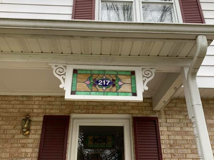 I Love Stained Glass And Found This Piece In An Antique Mall. It's My House Number!! Installed It On Our Front Porch