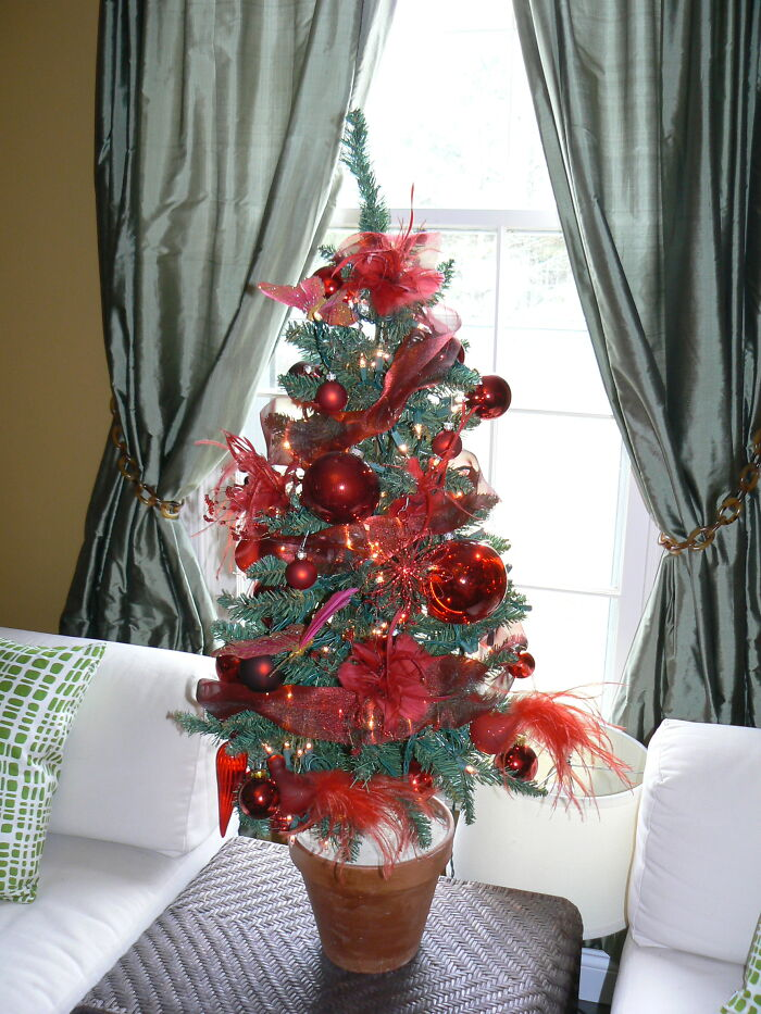 Mini Red Tree - I Love Doing Mini Trees Around The House. Adding Some Holiday Cheer In Each Room.